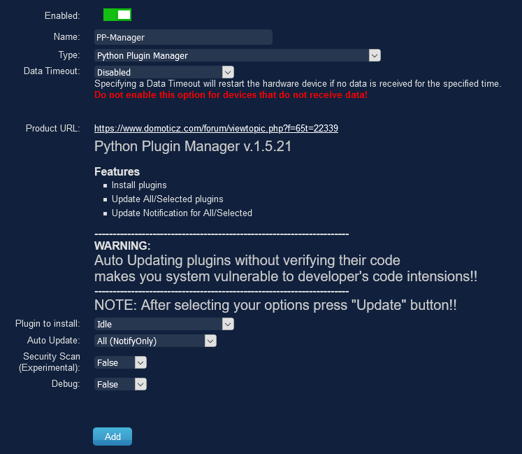 The Python Plugin Manager now available in Domoticz