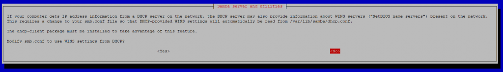 Samba server and utilities configuration