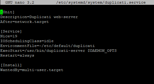 The duplicati.service file