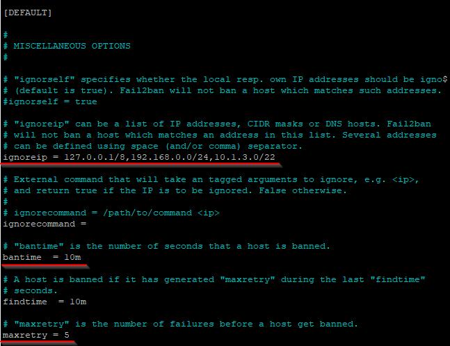 Configured /etc/fail2ban/jail.local