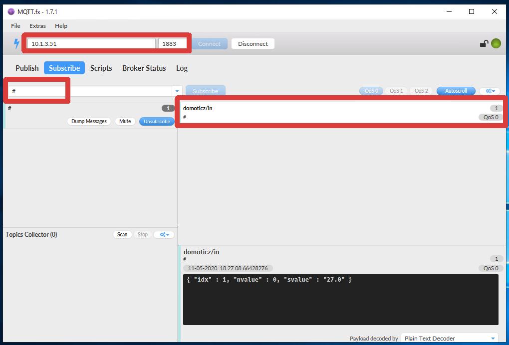 MQTT.fx client in action