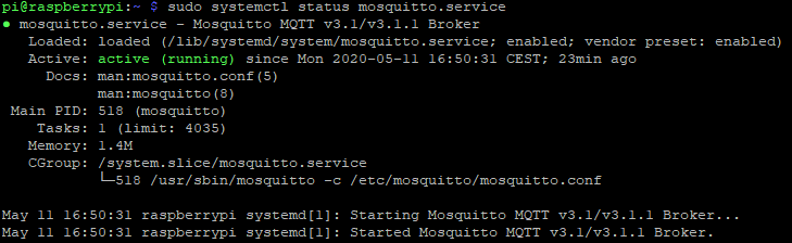 The Mosquitto MQTT broker is up and running
